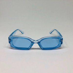 awesome rectangular transparent blue sunglasses